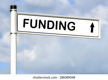 Funding word on road sign on sky background