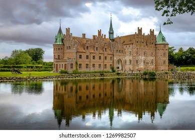Funen, Denmark - September 25, 2018:Renaissance Egeskov Castle in the south of the island of Funen, Denmark