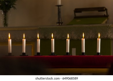 Funeral candles in the church