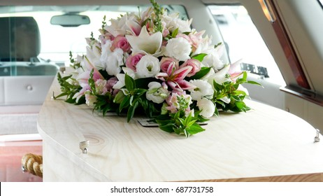 Funeral casket, coffin burial, celebrate the death, goodbye loved one