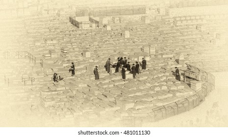 Funeral ceremony when the ancient Jewish Cemetery - Jerusalem, Israel (stylized retro)