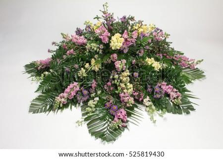 Funeral Floral Arrangement Purple Yellow Flowers Stock Photo Edit