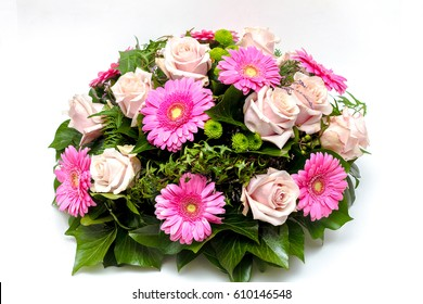 Funeral flower arrangement ikebana isolated on a white background