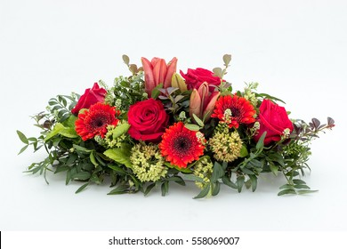 Funeral flower arrangement for funeral isolated on a white background