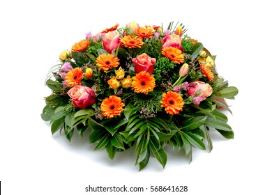 Funeral flower wreath-ikebana isolated on a white background