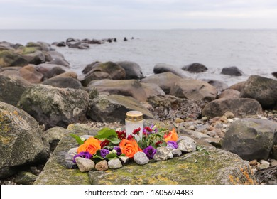 funeral flowers arrangement as burial at sea concept