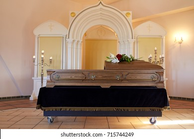 funeral and mourning concept - coffin at orthodox church