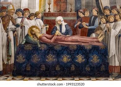 The funeral of Saint Fina Medieval Renaissance art design in Collegiate Church, Italy