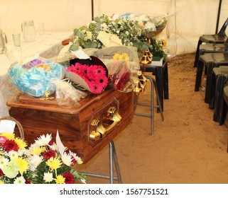 Funeral Service casket and coffin with flowers
