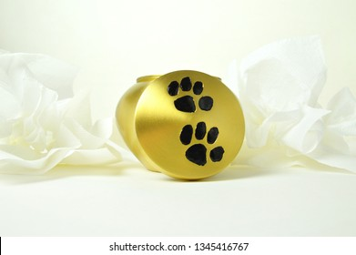 Funeral urn for pets, after the cremation.