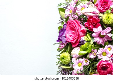 Funeral wreath isolated on a white background. Closeup flower pattern. Space for graphic