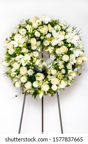 Funeral wreath isolated on a white background.