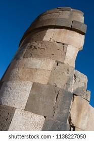 Funerary tower at Sillustani, on the shore of Lake Umayo, near Puno in Peru