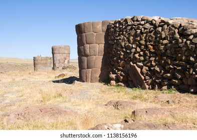Funerary towers on Silustani on the lake Umayo shore, near Puno, Peru