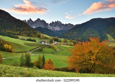Funes Valley at sunrise, Dolomites, Italy