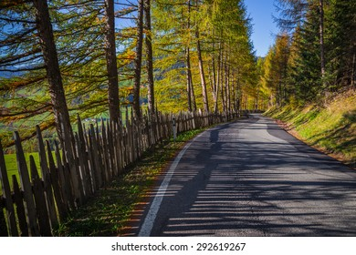 Funes valley, Trentino Alto Adige, Italy. Funes Valley during autumn, curvy road passing trough colorful trees.