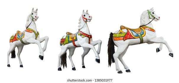 Funfair circus carousel carnival. White horses small set on white background