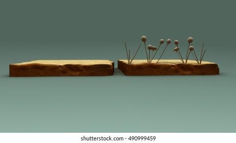 Fungi on bread 3d illustration