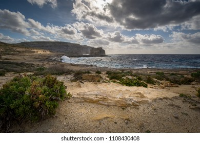 Fungus Rock. Dwejra Bay at the west coast of the Maltese Island of Gozo. Winter, windy day.