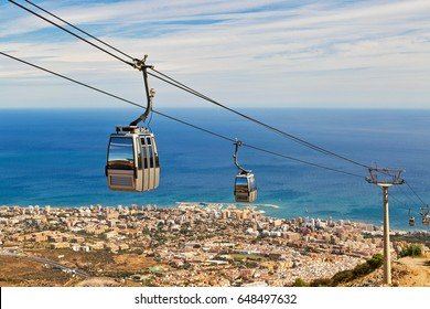 funicular above Costa del Sol. View from the top of Calamorro mountain, Benalmadena, Andalusia province, Spain.