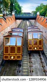 Funicular in Budapest. Funicular to Buda castle in Budapest, Hungary