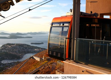 Funicular cableway station at Srd mountain with a beautiful view of Dubrovnik, Croatia
