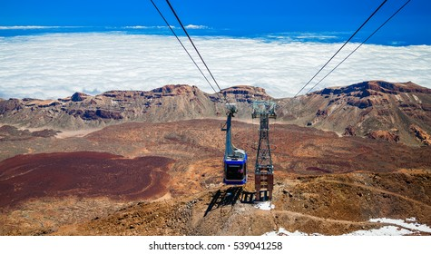 funicular goes up to the volcano Teide in Tenerife, Canary Islands, Spain