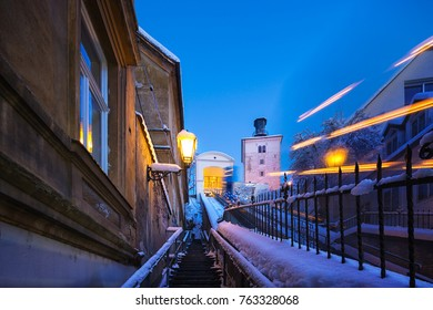 funicular and Lotrscak tower in Zagreb. Croatia.