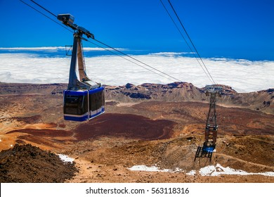 funicular on a cableway to the volcano Teide in Tenerife, Canary Islands, Spain