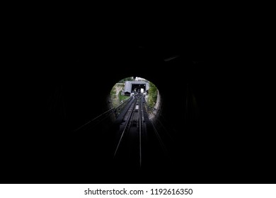 A funicular railway car in its way to  Hohensalzburg Fortress in Salzburg, Austria on Sep. 21, 2018.The Festungsbahn is a funicular railway providing access to Hohensalzburg Fortress.