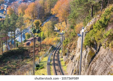 The Fløibanen funicular railway in the city of Bergen in western Norway.