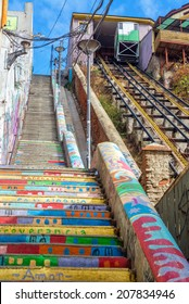 Funicular railway climbing up a hillside in Valparaiso, Chile