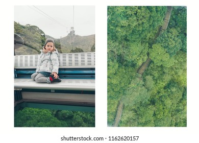 Funicular, Funicular railway. A little girl sitting in a cable car.