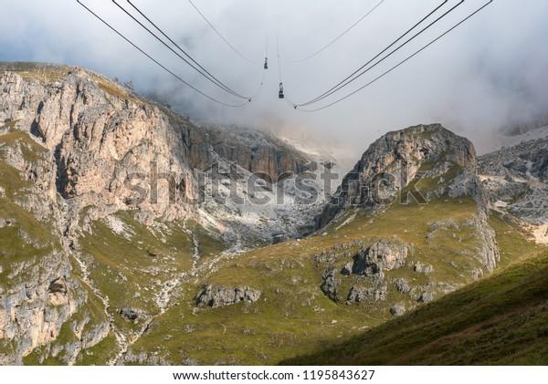 Funicular Terrazza Delle Dolomiti Cloudy Day Stock Photo