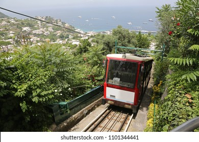 Funicular Train Climbing at Capri Island Italy