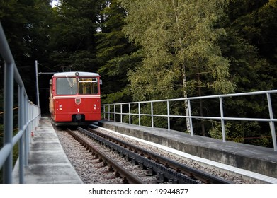 The Funicular train coming into a halt, Zurich, Switzerland