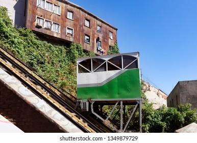 Funicular transportation in movement in Valparaiso city