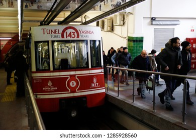 A funicular wagon in the Tunel which is a historical underground funicular line in Istanbul, Turkey on Jan. 5, 2019