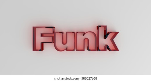 Funk - Red glass text on white background - 3D rendered royalty free stock image.