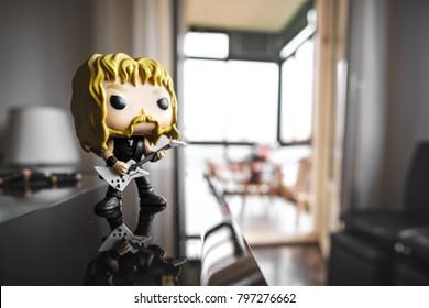 Funko Pop action figure of James Hetfield singer guitarist and frontman of the Metallica heavy metal band - Bologna, Italy, 13 Jan 2018