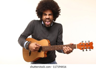 funky afro man with a guitar