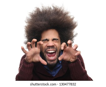 Funky afro man screaming like a lion