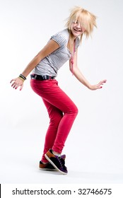 Funky dancing teenage blonde emo girl
