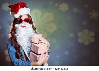 Funky girl in super sunglasses and false santa beard
