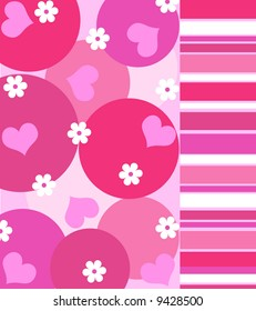Funky hearts and flowers with stripes in shades of bright pink