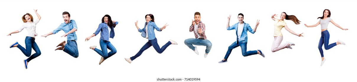 Funky, joy, diversity, social ethnic concept. Collage picture of different nine cheerful people expressing happiness, jumping, having fun, wearing casual clothes, isolated on white background