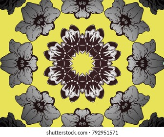 Funky Kaleidoscope with a floral feel in black, silver and yellow.
