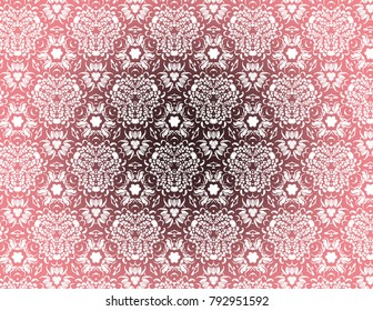 Funky Kaleidoscope with a floral feel in pink and white.