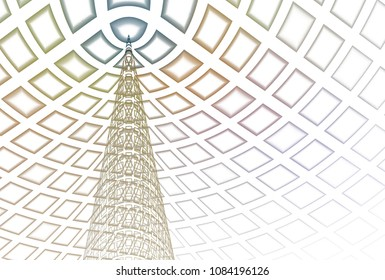 Funky pastel blue, orange, pink and peach abstract Christmas Tree (3D illustration, white background)