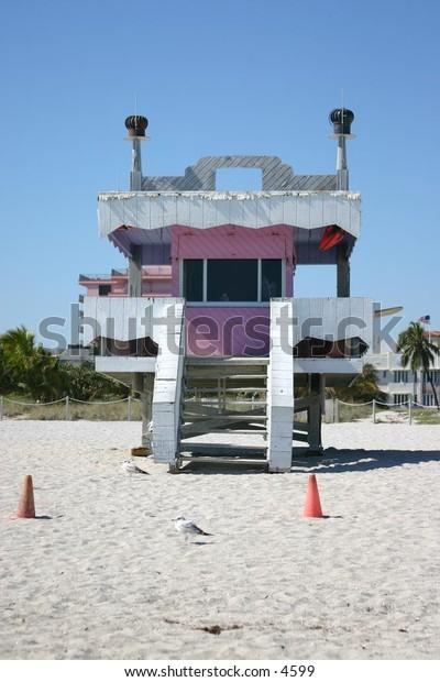 funky pink lifeguard shack